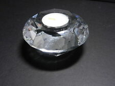 "Chinese Tea Light Candleholder Faceted Round Clear Crystal 3 7/8"" D"