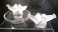 Lalique Crystal Two Birds Figurine and Dish - Signed - Lovely