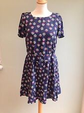 DRESS SIZE 6 BY PAUL & JOE SISTER KITTEN PRINT LINED AIRFORCE BLUE PINK BNWT