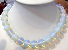 Fashion 10MM Clear Sri Lanka Moonstone Gemstones Round Loose Beads necklace 18""