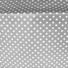 FRENCH GREY PVC LARGE POLKA DOT OILCLOTH VINYL FABRIC TABLE WIPECLEAN TABLECLOTH
