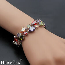 Natural AAA MULTI COLOR  Morganite Peridot Garnet Sterling 925 Silver Bracelet 7
