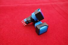2PCS Cutout 12MM 6V Blue LED ILLUMINATED Rectangular Momentary PUSH BUTTON