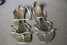 New look ladies sandals size 7 beige / gold