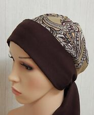 Brown chemotherapy cap surgical head wrap cancer bonnet chemo head wear alopecia