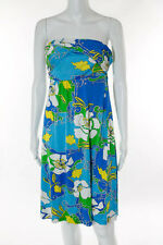 Tibi Blue White Green Silk Abstract Print Ruched Strapless Dress Size Large