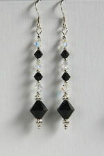 Long STERLING SILVER 925 EARRINGS SWAROVSKI Elements CRYSTAL Clear AB Black