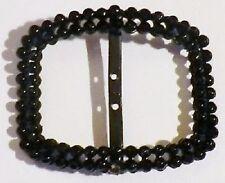Bijou Vintage boucle ceinture ancienne perle verre facette couleur noir * 5061