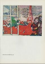 "1963 Vintage ""BRIDE AND GROOM WITH EIFFEL TOWER"" MARC CHAGALL COLOR Lithograph"