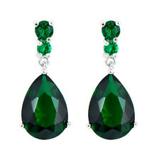 Teardrop Green Emerald Drop/Dangle Earrings White Gold Filled Wedding Jewelry