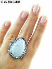 Turkish Handmade 925 Sterling Silver Jewelry Natural Moonstone Druzy Ring C43