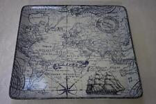 222 Fifth Deep Sea World Map Large Square Tray Platter -Navy Blue/White 14x14