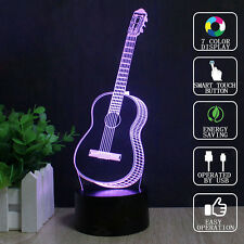 3D Ukulele Guitar LED Night Light 7 Color Touch Switch Table Desk Lamp Xmas Gift
