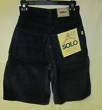 NWT SOLO Denim Wide Loose Baggy Fit Corduroy Shorts Size 28 Navy Blue