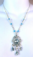 ELEGANT SPARKLING SILVER BLUE MULTI STONE NECKLACE TASSELS BRAND NEW (A5)