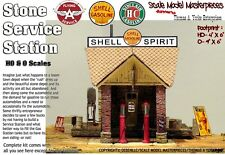 STONE SERVICE STATION (Shell Oil) KIT Scale Model Masterpieces/YORKE 1:48/O//On3