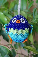 3D Beaded by Glass Bead Tit Bird on Wooden Easter Egg Ornament