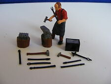 Blacksmith, Anvil and Tool Set- 1:43 Finished White Metal Figure