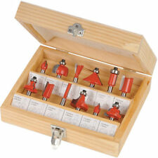 "12PC 1/2"" Professional Shank TCT Tipped Router Bit Set With Wooden Case"