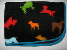 "Old Navy Black Multicolor Puppy Dog Print Blanket Teal Edge 2006 37 x 40"" Baby"