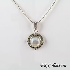 Sterling Silver Pendant with Mother of Pearl Shell and Swiss Marcasite
