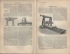 Lithografie Druck 1909: Hobelmaschinen. Holz Maschinen
