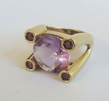 VTG 14K Yellow Gold Purple Amethyst modernist italian design cocktail  Ring 6.5