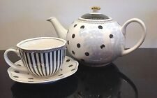 Grace's Teaware Gray & Blue Polka Dots Stripes Teapot Matching Cup & Saucer
