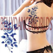 SEXY BLUE ROSE FLOWER TEMPORARY TATTOO LEG ARM BODY STICKER FLORAL SCAR COVER