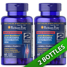 Puritan's 3X Strength 1500mg Glucosamine Chondroitin & MSM 2 X60 Caps USA Joints