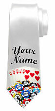 POKER CARDS PERSONALISED NECK TIE *ANY NAME/TEXT * IDEAL NAMED GIFT FOR ANY MAN