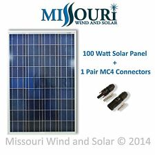 1- 12 volt dc 100 watt polycrystaline Solar Panel + MC4 Connectors PV RV marine