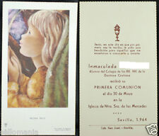 OLD FIRST COMMUNION REMEMBRANCE HOLY CARD YEAR 1964 ANDACHTSBILD SANTINI   C1091