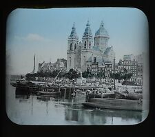 Dutch Colour Glass Magic Lantern Slide Amsterdam Catholic Church Netherlands
