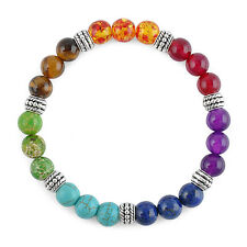 Men Women 7 Chakra Healing Agate Mixed Gemstone Beads Pray Mala Bracelet Jewelry