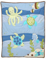 Nojo - Sea Babies Appliqued Crib Comforter - Sea horse - Octopus - Blue