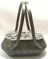 c.1950s RIALTO Oval & Carved MARBLEIZED GREY Lucite LUNCH PAIL Handbag