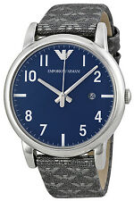 Emporio Armani AR1833 Classic Blue Dial Grey Canvas Strap Men's Watch
