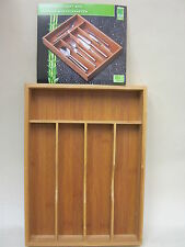 New Wood Bamboo Cutlery Tray Box Wooden Organiser 5 Compartments  51298