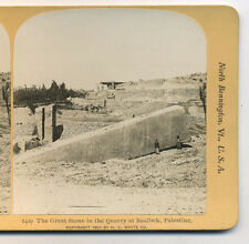 1901 Stereoview The Great Stone in the Quarry at Baalbek, Palestine, HC White