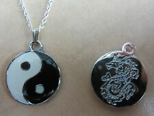 "18"" Inch 925 Sterling Silver  Enamel Yin-Yang Pendant Necklace Dragon"