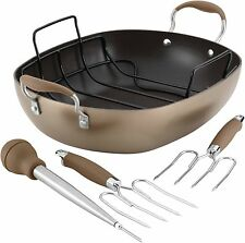 Roaster Pan Set Bronze Oval Anolon Advanced Hard-Anodized Nonstick Aluminum Feat