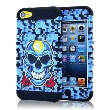 Blue Pixel Camo Skull Impact Hard Soft Rubber Case for iPod Touch 5th 6th Gen