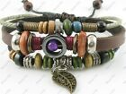 Adjustable Surfer Tribal Hemp Leather Bracelet Wristband Mens Womens Leaf