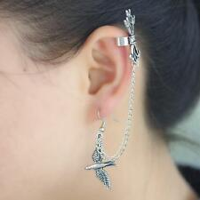Punk Vintage Silver Swallow Bird Ear Clip Wrap Cuff Hook Long Chain Earring Stud