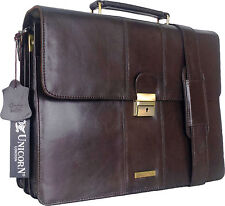 UNICORN Brown Real Leather Bag Business Executive Briefcase Keylock Messenger#3N