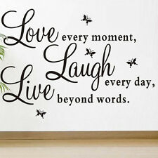 Love Every Moment Laugh Live New Coming Wall Sticker Decals Mural Home Decor