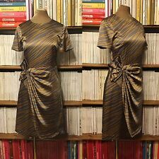 STEFFEN SCHRAUT dress UK 8-10 grey gold print silk bow draped knee length wrap