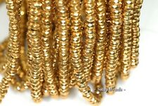 6X4MM GOLD HEMATITE GEMSTONE GOLD FACETED RONDELLE 6X4MM LOOSE BEADS 15.5""