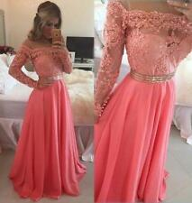Long Sleeve Evening Dresses with Applique Formal Party Prom Bridesmaid Ball Gown